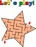 Find a way out of the star labyrinth. Game for kids. Go through the maze Royalty Free Stock Photos