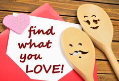 Find what you love words Stock Image