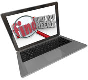 Find What You Need Website Search Engine Results. Search engine results with magnifying glass on words Find What You Need on a laptop computer screen or monitor Royalty Free Stock Image
