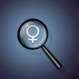 Find woman. High Resolution Magnify Glass and Symbol Woman Stock Images