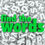 Find the Words Wordsearch Puzzle Game Challenge. Find the Words in green letters on a background of letter tiles in a jumble or word search puzzle Stock Photo