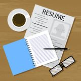 Find work, resume on table. Vector career, resume and hiring, cv applicant illustration Royalty Free Stock Image