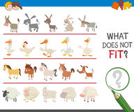 Find wrong animal in the row. Cartoon Illustration of Finding Picture that does not Fit in a Row Activity Game for Children Stock Photos