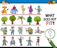 Find wrong picture activity. Cartoon Illustration of Finding Improper Item in the Row Educational Activity for Children Royalty Free Stock Photo