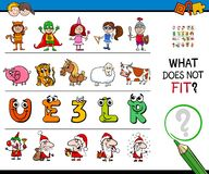 Find wrong picture in a row educational game. Cartoon Illustration of Finding Picture that does not Fit in a Row Educational Game with Funny Characters vector illustration