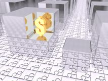 Find you business. Gold symbol of a dollar currency between steel cubes. 3D CG illustration Stock Photo