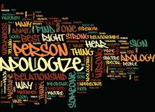 Find Your Best Way To Apologize Word Cloud Concept Royalty Free Stock Images