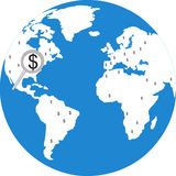 Find your business. Illustration of a globe with dollar sign Stock Photos