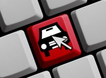 Find your car online. Symbol on computer keyboard Royalty Free Stock Photo