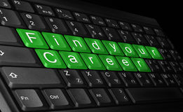 Find your career. Laptop keyboard and text ''find your career'' colored green Royalty Free Stock Image