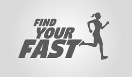 Find your fast. Running girl or woman silhouette. Motivational and inspirational illustration. Sport and fitness poster Royalty Free Stock Photos