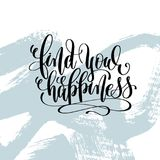 Find your happiness hand lettering inscription. Motivation and inspiration love and life positive quote, calligraphy vector illustration on blue brush stroke Stock Images
