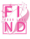 Find your love. Illustration with heart silhouette Stock Images