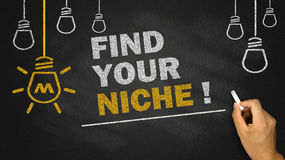 Find your niche. On blackboard background Royalty Free Stock Images