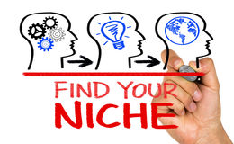 Find your niche. Concept on whiteboard stock photo