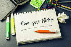Find your niche. Handwriting of Find Your Niche word in notebook on the desk Royalty Free Stock Images