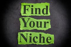 Find Your Niche. Torn pieces of paper with the phrase Find Your Niche. Concept image Stock Photography