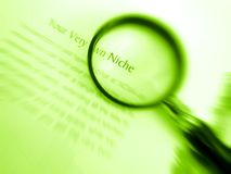 Find your own niche. Your very own niche - An image of a magnifier focused on the word niche. Concept image for finding a personal niche with one's own Royalty Free Stock Photography