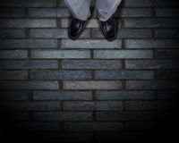 Find your own way. Top view of businessman legs choosing his way Royalty Free Stock Images