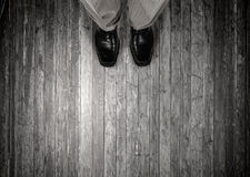 Find your own way. Top view of businessman legs choosing his way Stock Photos