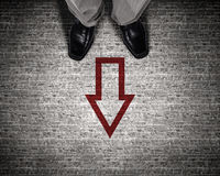 Find your own way. Top view of businessman legs choosing his way Royalty Free Stock Photos