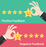 Find your passion background. Business hand give five star of positive and negative feedback. Vector illustration of customer feedback concept. Minimal and flat Stock Images