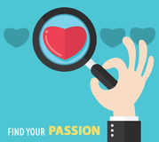 Find your passion background. Find your passion concept. Vector illustration. Flat And Minimal Design. Can be use for cover design, brochure, flyer, poster Stock Photo