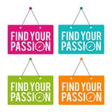 Find your Passion hanging Door Sign. vector illustration