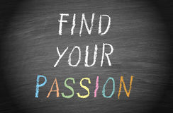 Find your passion - text on chalkboard or blackboard. Find your passion - handwritten text on chalkboard or blackboard Stock Photos