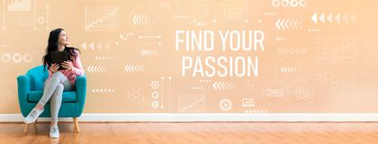 Find your passion with woman using a tablet. Find your passion with young woman holding a tablet computer in a chair stock photo