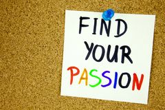 Find your passion written on sticky note over notice board. room for text. Businnes conept stock image