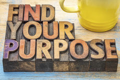 FInd your purpose advice. FInd your purpose - motivational advice in vintage letterpress wood type blocks stained by color inks with a cup of coffee Stock Photography