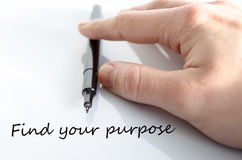 Find your purpose concept. Pen in the hand  over white background Find your purpose concept Stock Photos