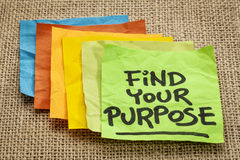 Find your purpose. Motivational reminder - handwriting on sticky note Stock Photos