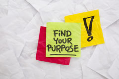 Find your purpose. Reminder or advice handwritten on colorful sticky notes Stock Photo