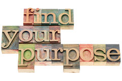 Find your purpose in wood type. Find your purpose - isolated text in letterpress wood type Royalty Free Stock Photo