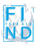 Find your sea. Illustration with anchor silhouette Stock Photos