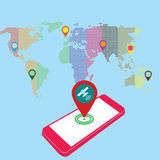 Find with your smartphone. Pink color smartphone and world map Stock Photos