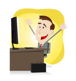 Find Your Stuff On The Net. Illustration of a cartoon happy business man finding happiness on the web or on his Desktop Computer. High resolution jpeg files Royalty Free Stock Photography