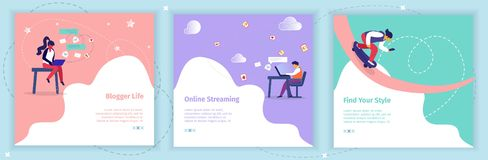 Bloggers Broadcasting Video Blogs in Social Media stock illustration