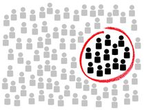 Find your Target Group. Illustration of many people with red circle around Target Group Stock Photography