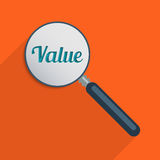 Find your values. Concept for find your values and world of finance. Flat design illustration Royalty Free Stock Image