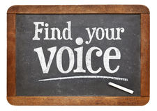 Find your voice blackboard sign Stock Image