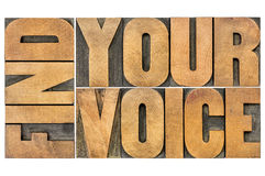 Find your voice creativity concept. Isolated word abstract in letterpress wood type Royalty Free Stock Photo