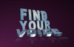 """Find your voice. An illustration of the text """"find your voice"""" on dark background Stock Images"""