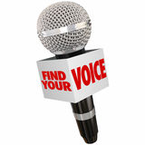 Find Your Voice Share Opinion Microphone. Find Your Voice words on box around a microphone to illustrate sharing an opinion through an interview or public Royalty Free Stock Photography