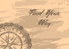 Find your way banner with compass windrose. Find your way banner with retro compass windrose on grunge background. Geography research, worldwide traveling Stock Photo