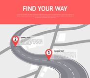 Find your way concept with pin pointers. On road. Cartography mapping, ui pinning, geotag positioning, geolocation and geoposition system. Location pin on Stock Photo