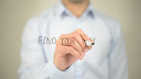Find Your Way , man writing on transparent screen royalty free stock photos