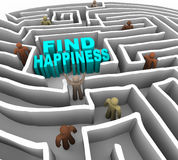Find Your Way to Happiness. Many people try to find happiness through a deep maze Royalty Free Stock Photos
